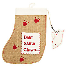 "Buy Reg & Ruby ""Santa Claws"" Hessian Cat Stocking Online at johnlewis.com"