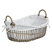 Buy John Lewis Maison Wide Oval Willow Basket, Grey Online at johnlewis.com