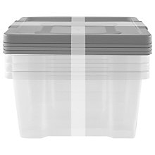 Buy John Lewis Clear Plastic Storages Boxes With Coloured Lids, Set of 4 Online at johnlewis.com