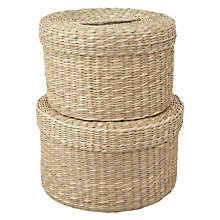 Buy John Lewis Round Seagrass Lidded Basket, Set of 3 Online at johnlewis.com