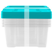 Buy John Lewis Clear / Teal Plastic Storage Boxes, Set of 4 Online at johnlewis.com