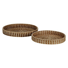 Buy John Lewis Rattan Round Open Weave Tray, Set of 2 Online at johnlewis.com