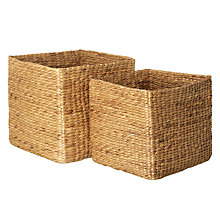 Buy John Lewis Square Water Hyacinth Storage Baskets, Set of 2 Online at johnlewis.com
