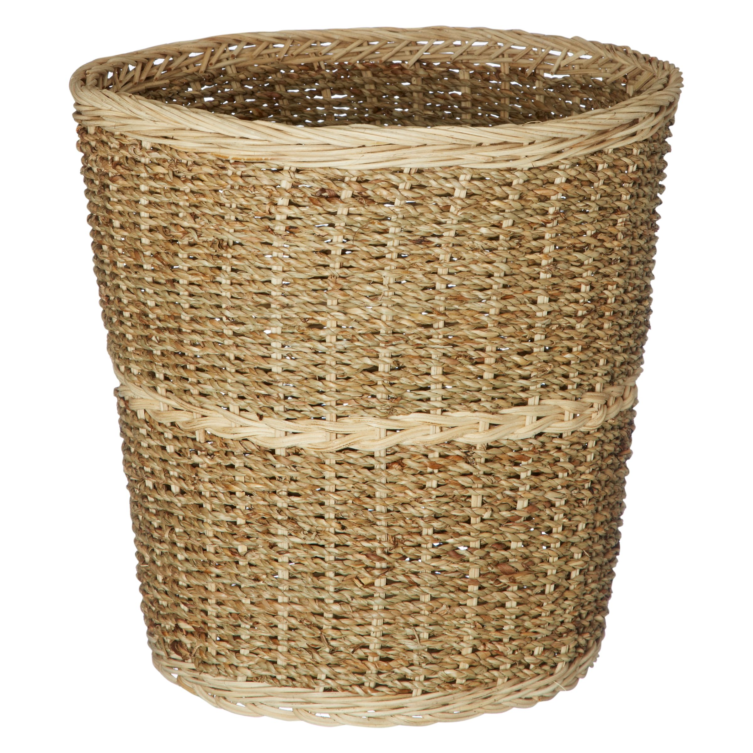 John Lewis Striped Seagrass and Wicker Wastepaper Basket