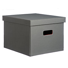Buy House by John Lewis Lidded Felt Storage Box, Grey / Red, Large Online at johnlewis.com