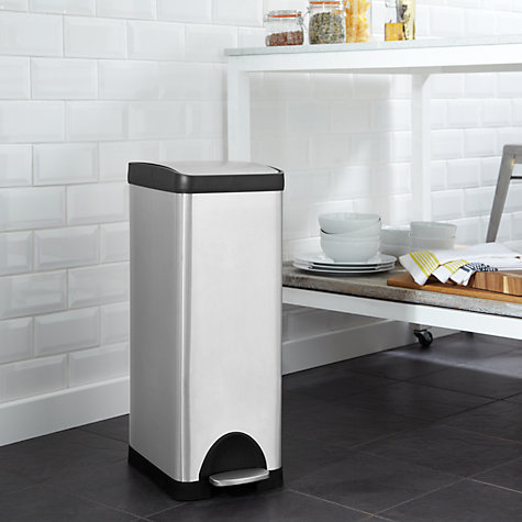 Buy John Lewis Slim Stainless Steel Pedal Bin, 30L Online at johnlewis.com