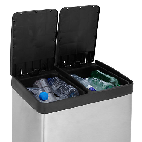 Buy John Lewis 2 Section Recycling Bin, Stainless Steel, 2x 30L Online at johnlewis.com