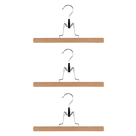 Buy John Lewis FSC Beech Clamp Hangers, Pack of 3 Online at johnlewis.com