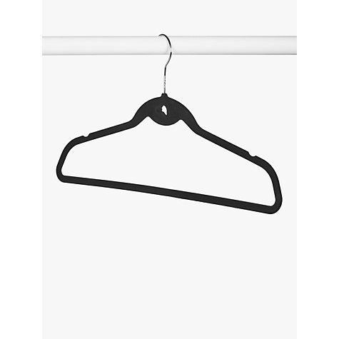 Buy John Lewis Flocked Polystyrene Clothes Hangers, Set of 10, Black Online at johnlewis.com