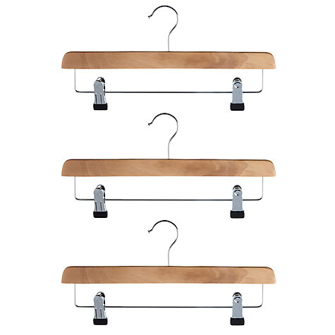 Buy John Lewis Basic Wood Clip Hangers, Set of 3 Online at johnlewis.com