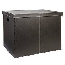 Buy John Lewis Faux Leather Storage Trunk, Brown Online at johnlewis.com