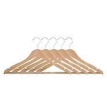 Buy John Lewis FSC Beech Jacket Hangers, Pack of 6 Online at johnlewis.com