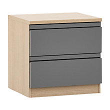Buy House by John Lewis Mixit 2 Drawer Bedside Chest, Gloss Grey/Natural Oak Online at johnlewis.com