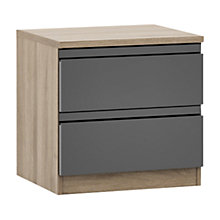 Buy John Lewis Mixit Gloss 2 Drawer Bedside Chest, Grey/Grey Ash Online at johnlewis.com