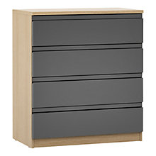Buy House by John Lewis Mixit Wide 4 Drawer Chest, Gloss Grey/Natural Oak Online at johnlewis.com
