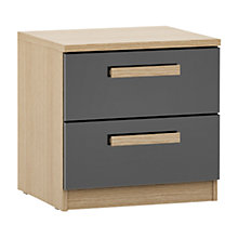 Buy House by John Lewis Mix it Block Handle 2 Drawer Bedside Chest, Gloss Grey/Natural Oak Online at johnlewis.com