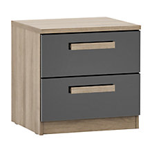 Buy House by John Lewis Mixit Block Handle 2 Drawer Bedside Chest, Gloss Grey/Grey Ash Online at johnlewis.com