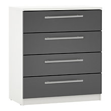 Buy House by John Lewis Mixit Block Handle Wide 4 Drawer Bedside Chest, Gloss Grey/White Online at johnlewis.com
