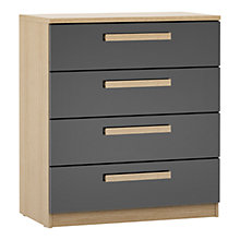 Buy House by John Lewis Mixit Block Handle Wide 4 Drawer Chest, Gloss Grey/Natural Oak Online at johnlewis.com