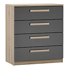 Buy House by John Lewis Mixit Block Handle Wide 4 Drawer Chest, Gloss Grey/Grey Ash Online at johnlewis.com