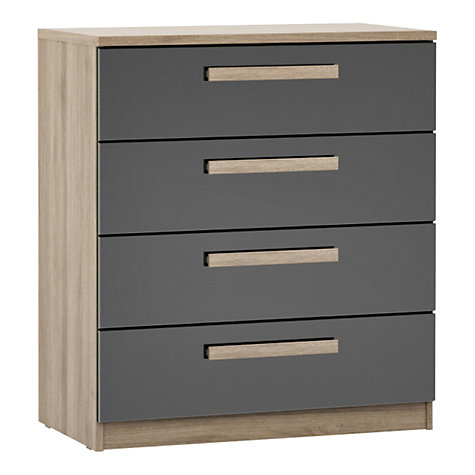 Buy House by John Lewis Mix it Block Handle Wide 4 Drawer Chest, Gloss House Steel/Grey Ash Online at johnlewis.com