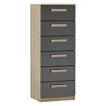 Buy House by John Lewis Mix it Block Handle Narrow 6 Drawer Chest, Gloss Grey/Grey Ash Online at johnlewis.com