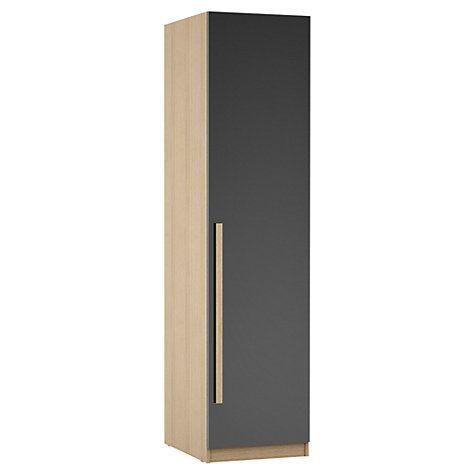 Buy House by John Lewis Mix it Block Handle Single Wardrobe, Gloss House Steel/Natural Oak Online at johnlewis.com
