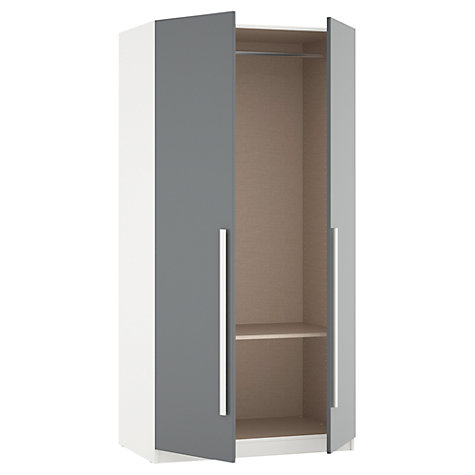 Buy House by John Lewis Mix it Block Handle Double Wardrobe, Gloss Grey/White Online at johnlewis.com