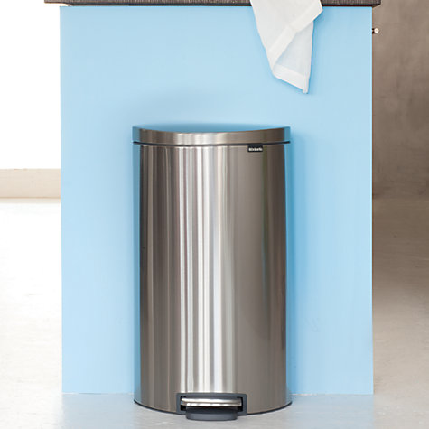 Buy Brabantia FlatBack+ Pedal Bin, Matt Steel, Fingerprint Proof, 30L Online at johnlewis.com