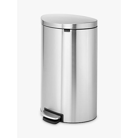 Buy Brabantia FlatBack+ Pedal Bin, Matt Steel, Fingerprint Proof, 40L Online at johnlewis.com