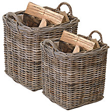 Buy Garden Trading Square Rattan Log Baskets, Set of 2 Online at johnlewis.com