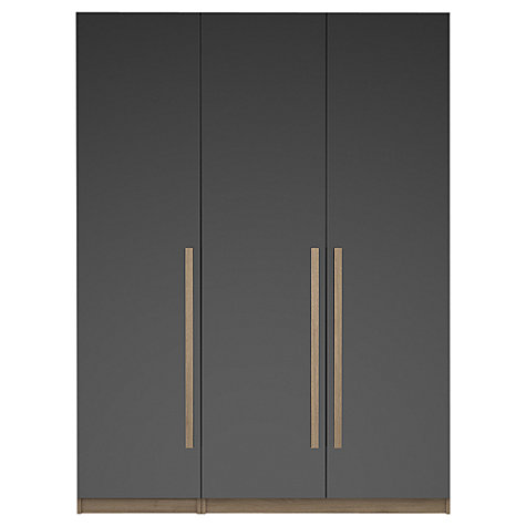 Buy House by John Lewis Mixit Block Handle Triple Wardrobe, Gloss Grey/Grey Ash Online at johnlewis.com