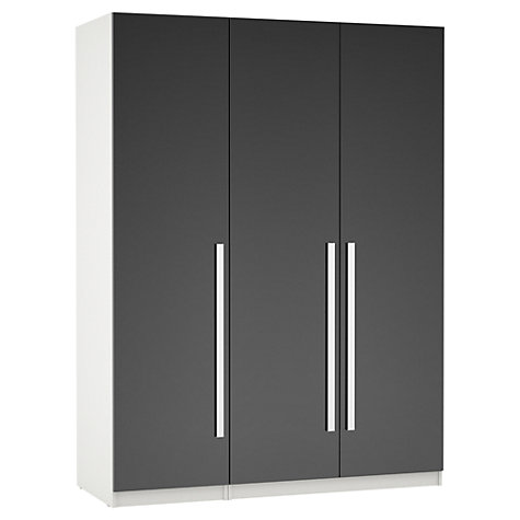Buy House by John Lewis Mixit Block Handle Triple Wardrobe, Gloss Grey/White Online at johnlewis.com
