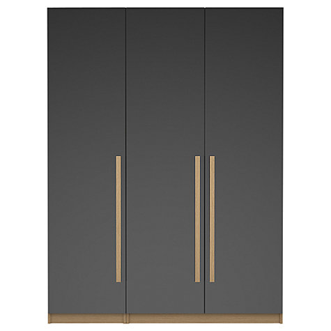 Buy House by John Lewis Mix it Block Handle Triple Wardrobe, Gloss Grey/White Online at johnlewis.com