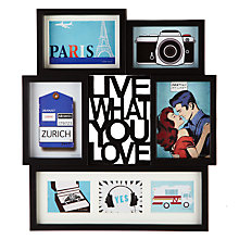 Buy Umbra Multi-aperture Motto Photo Display, Black, 7 Photo Online at johnlewis.com