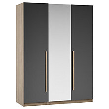 Buy House by John Lewis Mix it Block Handle Mirrored Triple Wardrobe, Gloss House Steel/Grey Ash Online at johnlewis.com