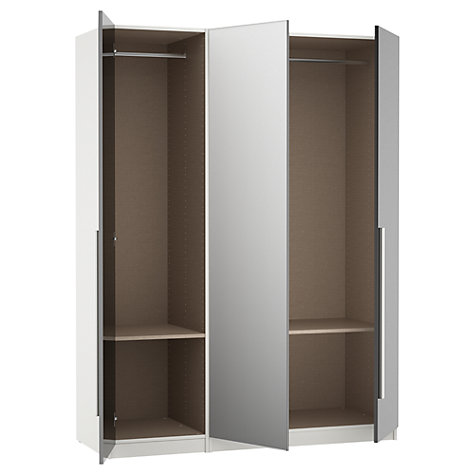 Buy House by John Lewis Mixit Block Handle Mirrored Triple Wardrobe, Gloss Grey/White Online at johnlewis.com
