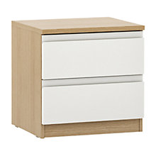 Buy House by John Lewis Mixit 2 Drawer Bedside Chest, Gloss White/Natural Oak Online at johnlewis.com