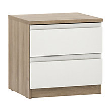 Buy John Lewis Mixit Gloss 2 Drawer Bedside Chest, White/Grey Ash Online at johnlewis.com