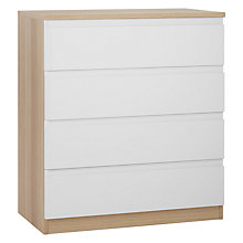 Buy House by John Lewis Mixit Wide 4 Drawer Chest, Gloss White/Natural Oak Online at johnlewis.com