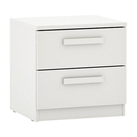 Buy House by John Lewis Mix it Block Handle 2 Drawer Bedside Chest, Gloss White/Matt White Online at johnlewis.com