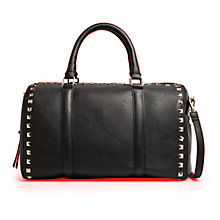 Buy Mango Studded Bowling Handbag, Black Online at johnlewis.com