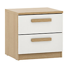 Buy House by John Lewis Mixit Block Handle 2 Drawer Bedside Chest, Gloss White/Natural Oak Online at johnlewis.com