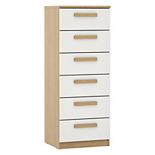 Buy House by John Lewis Mix it Wrapped Handles Gloss Narrow 6 Drawer Chest, White/Natural Oak Online at johnlewis.com