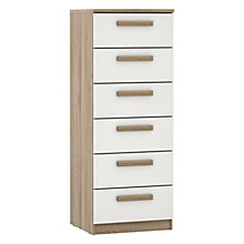 Buy John Lewis Mixit Wrapped Handles Gloss Narrow 6 Drawer Chest, White/Grey Ash Online at johnlewis.com