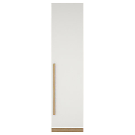 Buy House by John Lewis Mix it Block Handle Single Wardrobe, Gloss White/Natural Oak Online at johnlewis.com
