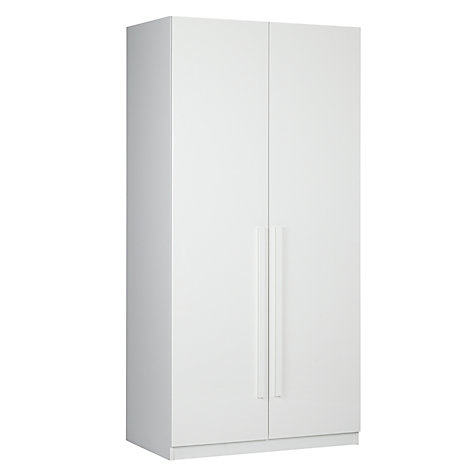 Buy House by John Lewis Mix it Block Handle Double Wardrobe, Gloss White/Matt White Online at johnlewis.com