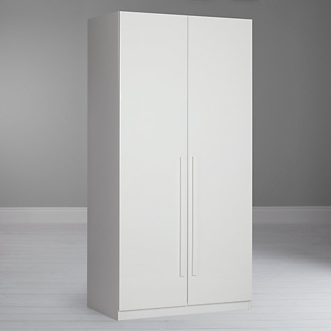 Buy House by John Lewis Mixit Block Handle Double Wardrobe, Gloss White/Matt White Online at johnlewis.com