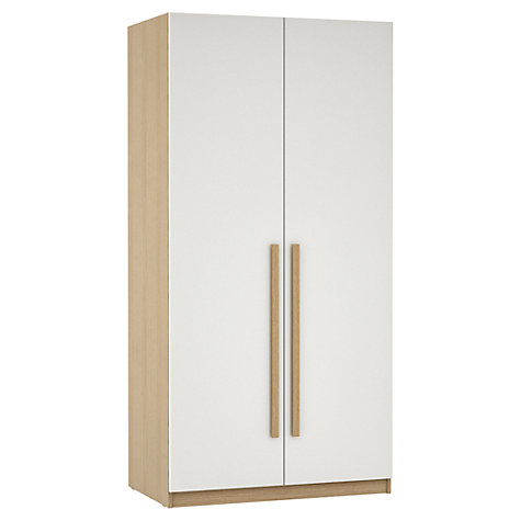 Buy House by John Lewis Mixit Block Handle Double Wardrobe, Gloss White/Natural Oak Online at johnlewis.com