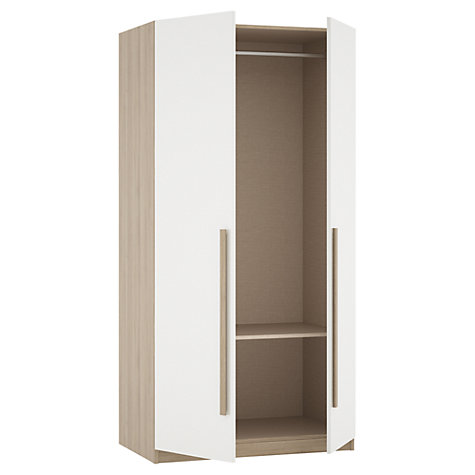 Buy House by John Lewis Mix it Block Handle Double Wardrobe, Gloss White/Grey Ash Online at johnlewis.com